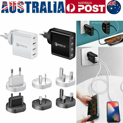 AU19.99 • Buy QC3.0 48W PD Fast Charging Charger Multi USB Type C Wall Plug Adapter 4 Port AU