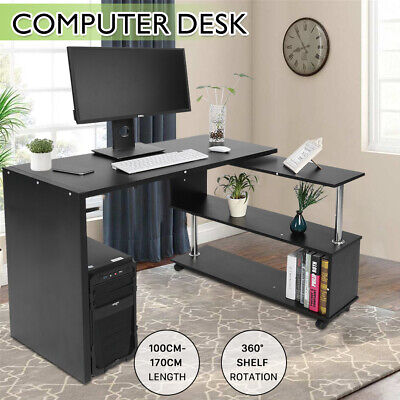 AU89.99 • Buy Office Work Computer PC Desk Corner Table Bookshelf Home 360° Black Adjustable