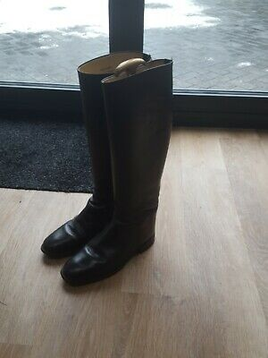 £100 • Buy Vintage  Hawkins  English Made Black Leather Riding Boots Size UK 6 Extra Wide