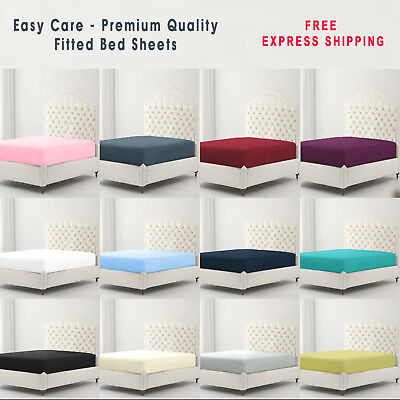 Full Fitted Sheet Bed Sheets 100% Poly Cotton Single Double King Super King Size • 5.60£