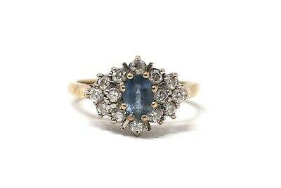 A Brilliant Vintage 9ct Yellow Gold Blue & White Sapphire Cluster Ring #28354 • 86.21£