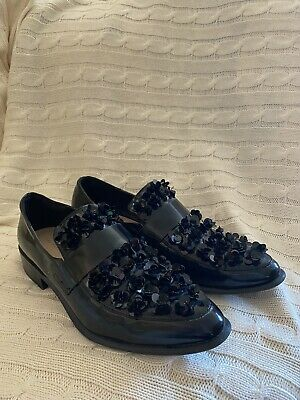 $35 • Buy ZARA Women's Sequin Black Loafers With Floral Detail - (PRE-LOVED) - Size 41