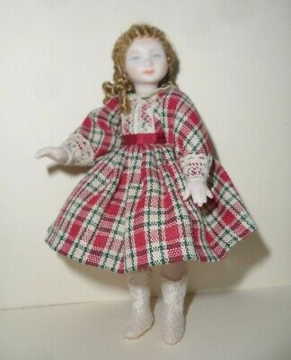 Dolls House Artisan Doll In Tartan Dress With Lace Trim & Ringlets, Head Turns,  • 69.99£