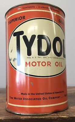 $ CDN348.18 • Buy Early Vintage TYDOL SUPERIOR Motor Oil 5 Qt Motor Oil Tin Can Colorful Graphics