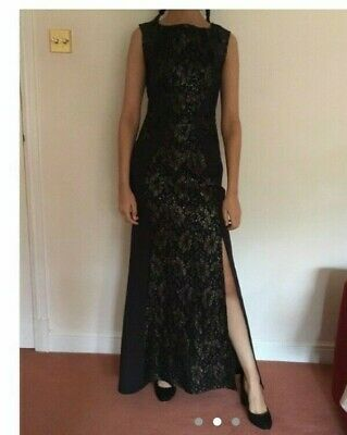 Beautiful Ball Gown/Evening Dress, Lipsy, Size 8, Black, Gold, Embroidered • 27£