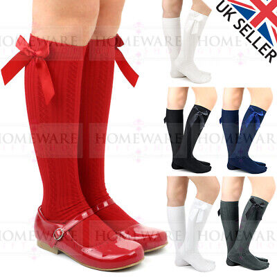 Girls Knee High Bow Socks Spanish Style Cotton Rich Cable Knit Design White Navy • 3.50£