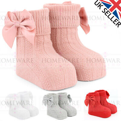 Baby Spanish Style Ankle Bow Socks Soft Cable Knit Red Pink White Grey Uk New • 3.50£