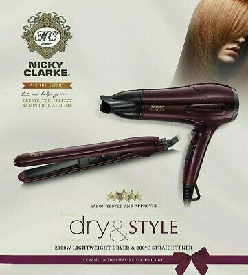 £43.99 • Buy Nicky Clarke Dry And Style Gift Set Hair Dryer Straightener 2000 WATTS QUALITY