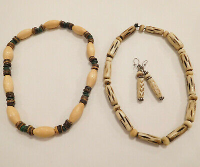 Wood And Carved Bead Vintage Tribal Jewellery Necklaces Earrings Job Lot • 1.50£