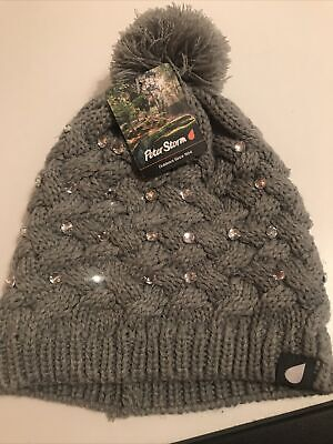 Peter Storm Josephine Grey Bobble Hat With Sparkly Beads One Size  • 14.99£