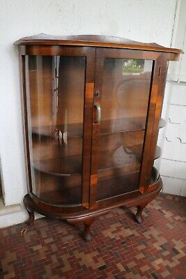AU185 • Buy Vintage 1930 Half Round China Display Cabinet Cupboard