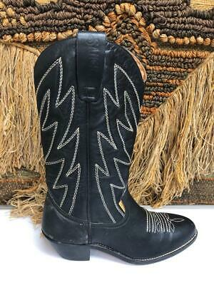Sancho Womens Black Leather Embroidery Western Boot SZ 38/7.5    957 • 43.01£