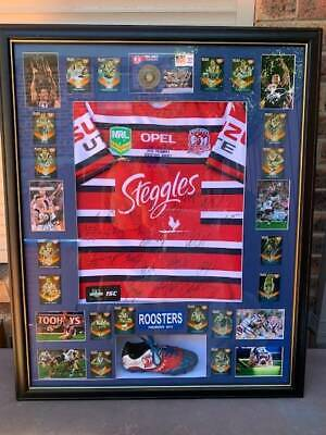 AU500 • Buy 2013 Roosters Signed Framed Embroid Home Jersey By 20 Boot, Cards Medallion