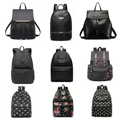 Unisex Boys Girls  School Canvas Oilcloth Backpack Travel Rucksack Black Bag  • 7.99£