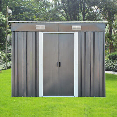 NEW 8FT X 4FT Garden Metal Storage Shed Pent Roof Outdoor WITH FREE BASE • 269.99£