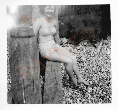 Pat In Swimming Costume Beach Day Photo Taken By RAF Soldier Ron 1955 : B1/17 • 5.49£