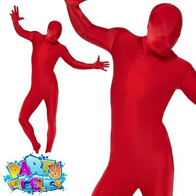 £14.99 • Buy Mens Second Skin Red Bodysuit Full Body Lycra Fancy Dress Party Costume Outfit
