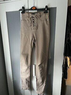MissGuided High Waist Nude Denim Jeans Lace Up Size 8 • 4£