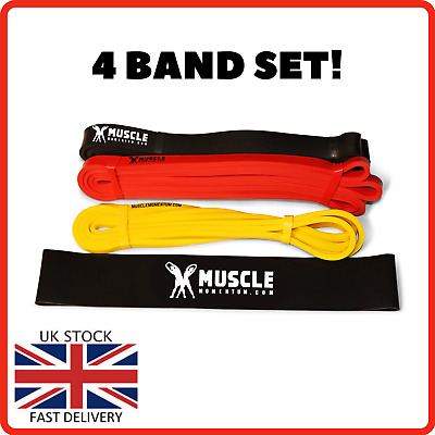 $ CDN27.34 • Buy 4 BANDS SET Strong Resistance Loop Heavy Duty Exercise Lifting Fitness Gym Latex