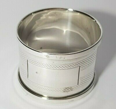 Solid Sterling Silver Napkin Ring 1931 Large Engine Turned • 24.50£