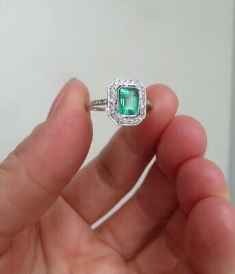 Art Deco Design 0.90ct Emerald & 0.40ct Diamonds Platinum Ring Size M1/2 • 270£