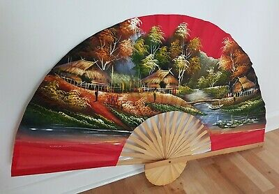 Vintage Retro Chinese Oriental Bamboo Red Fabric Wall Hanging Decor XL Fan 70s • 25£