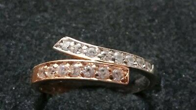 14ct WHITE AND ROSE GOLD 'WHITE STONE' CROSS OVER RING   SIZE N  NOT SCRAP 2.5g • 32£