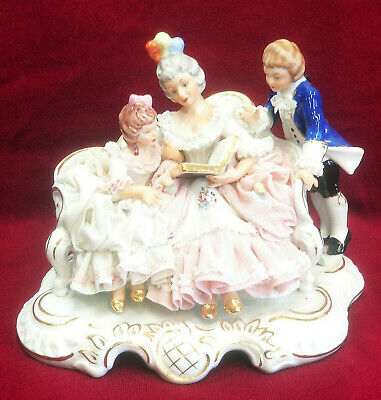 $ CDN126.54 • Buy Large Antique Dresden Porcelain Lace Figurine Mother Reading To Children