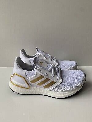 AU140 • Buy NEW Adidas ULTRABOOST 20 W Gold Metallic White EG0727 Running Shoes Size 7
