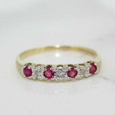 £100 • Buy 9ct Yellow Gold Ruby And Diamond Eternity Ring (Size P, US 7 1/2)