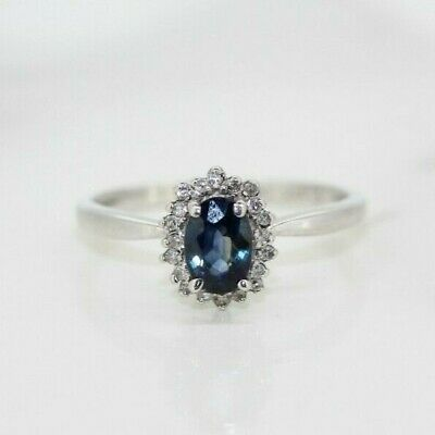 9ct White Gold Sapphire And Diamond Cluster Ring (Size K, US 5 1/4) • 95£