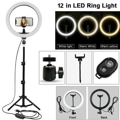 12  LED Ring Light With 1.6m Tripod Stand For Photo Video Live Bluetooth Remote • 26.75£