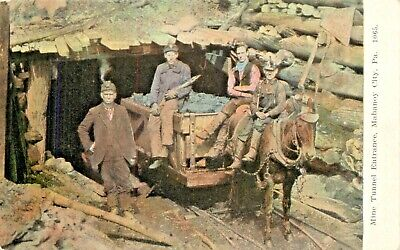 $9.95 • Buy A View Of The Mine Tunnel Entrance, Miners & Mule, Mahanoy City Pennsylvania PA