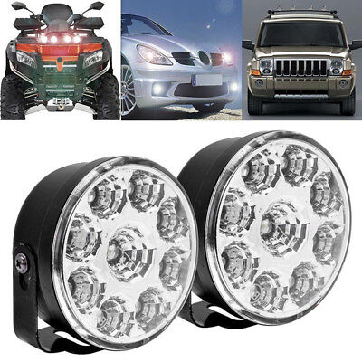 AU12.77 • Buy 2x 9LED DRL Car Fog Lamp Round Driving Running Daytime Light Head Light White;A!