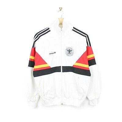 Germany Football 1988/90 Rare Adidas West Germany White Tracksuit Jacket Top S/M • 129.99£