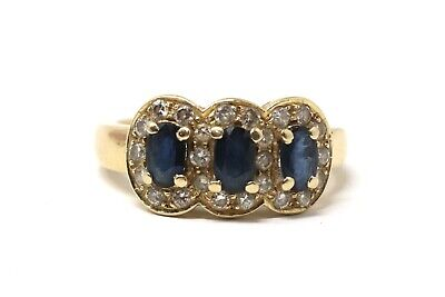 A Vintage Art Deco Style 18ct Yellow Gold Sapphire & Diamond Cluster Ring #28727 • 172.30£