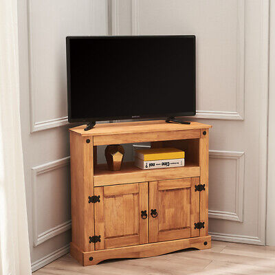 £59.99 • Buy Panana Corner TV Unit Stand Media Cabinet 2 Doors Solid Pine Waxed Mexican