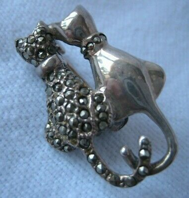 Charming 925 Silver Brooch With Two Cats. • 4.19£