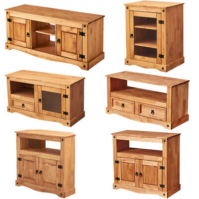 £59.99 • Buy Panana TV Stand Hi Fi Cabinet Solid Waxed Pine Glass Media Entertainment Unit