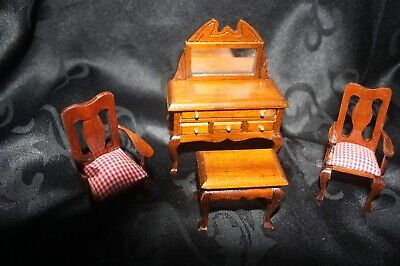 Vintage Dolls House Furniture. Dressing Table And Chairs • 8£