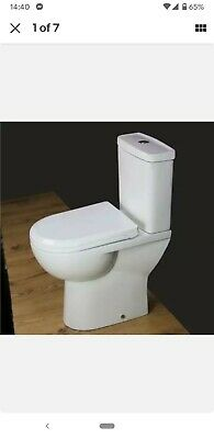 Toilet WC Close Coupled Bathroom Compact Soft Close Seat Comfort Height T127H • 99£