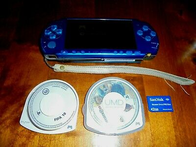 £95 • Buy Sony Psp 3003 Slim Vibrant Blue Console + 2 Games + 2mb Memory Card In Vgwc