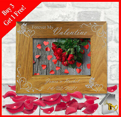 Personalised Engraved Wooden Photo Frame For Valentines Day Present Gift Gifts • 9.49£