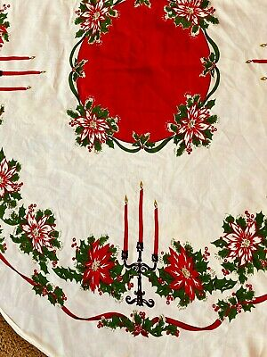 $ CDN20.13 • Buy Vintage 1950s Christmas Round Tablecloth With Candelabra