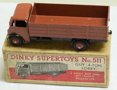 £329.84 • Buy DINKY #511 GUY 4 TON LORRY, RED-BROWN CAB, CHASSIS & HUBS, 1st TYPE CAB, VG+/BOX