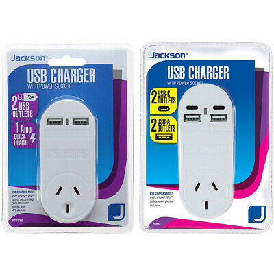 AU38.90 • Buy Jackson USB Wall Charger / Adapter With 1x AC Outlet, USB And USB-C, Fast Charge