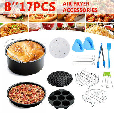 AU39.95 • Buy 17PCS/8'' Air Fryer Accessories Tray Pizza Cage Dish Pan Rack For Philips