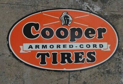 $ CDN155.02 • Buy Porcelain Cooper Tires Enamel Sign Size 18  X 30  Inches Double Sided