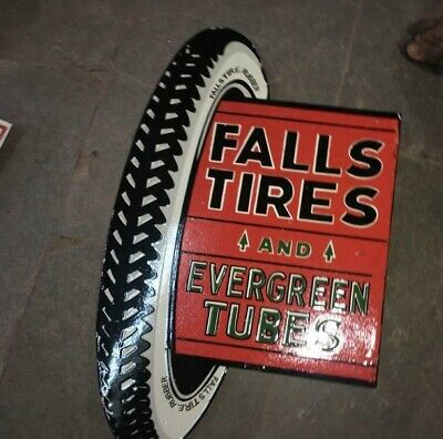 $ CDN127.59 • Buy Porcelain Falls Tires Enamel Sign Size 30  X 19  Inches Double Sided Flange