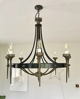 A Wrought Iron 8 Candle Light, A Elegant Nod To Medieval Style • 189£